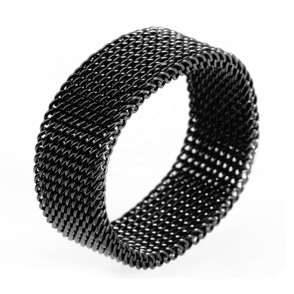 Stainless Steel Fashion Men Tat Ring Jewelry, Mesh Elastic Ring