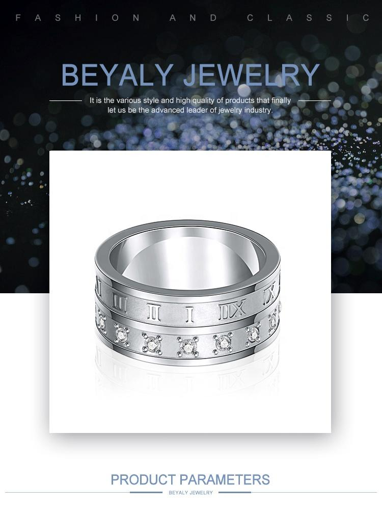 Mirror Polished Cz Number Stainless Steel Band Boys Finger Rings
