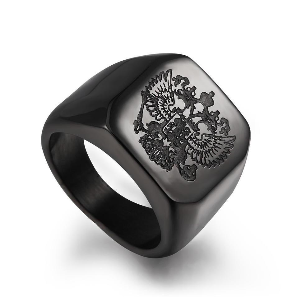 Black Painting Stainless Steel Custom Engraved Ring Masonic