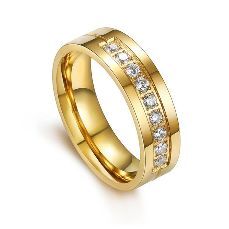 Shiny polish gold plated stainless steel ring with diamonds