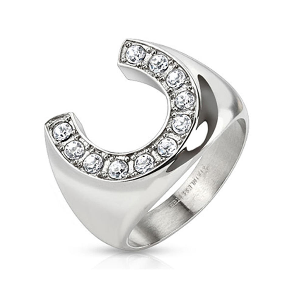 Fashion Jewelry Horseshoe Stainless Steel Ring With AAA Cubic Zirconia