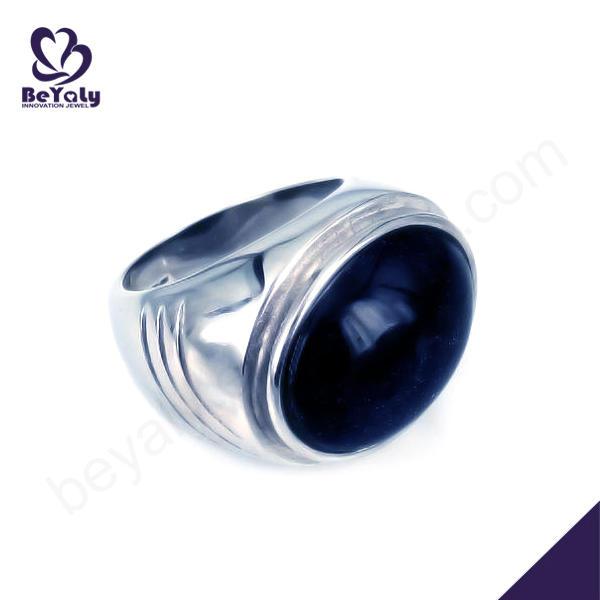 Cheap men finger stainless steel opal ring