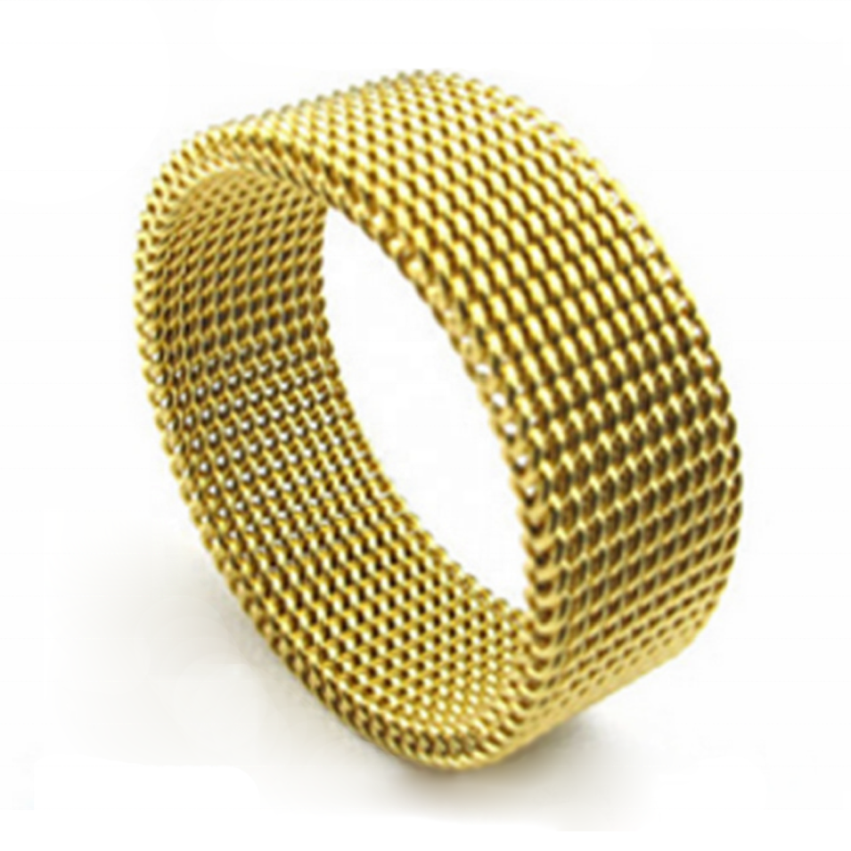 Dressy Braided Design Cheap Men Fine Jewelry Mesh Elastic Ring