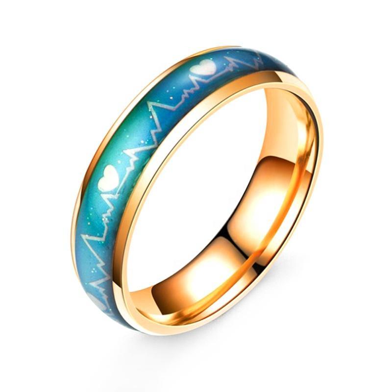Heart Beat Design Stainless Steel Laser Cut Wedding Ring