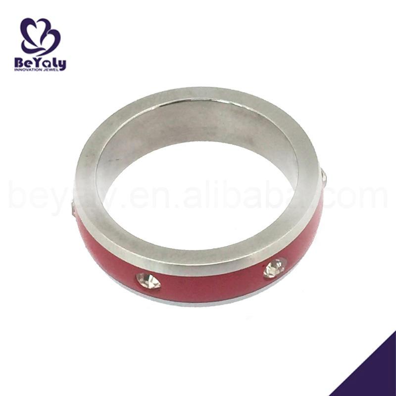 Promotional handmade stainless steel ruby titanium ring