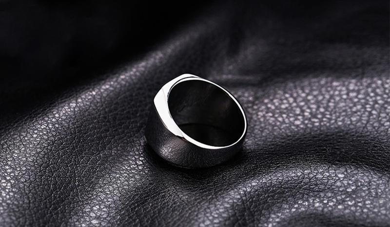 Black Painting Stainless Steel Custom Engraved Ring Masonic