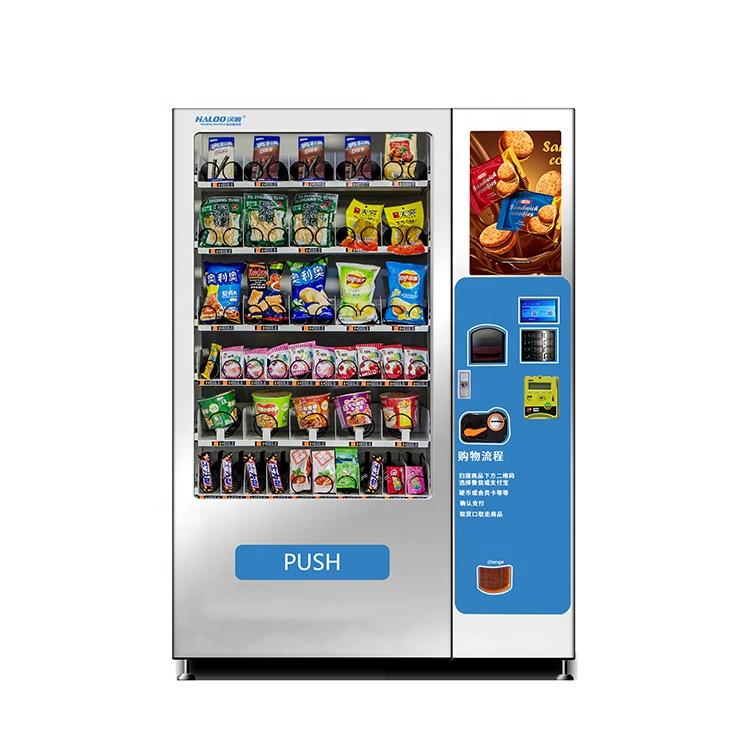 High quality sheet metal snacks glass bottle drinks combo vending machine with elevator lift