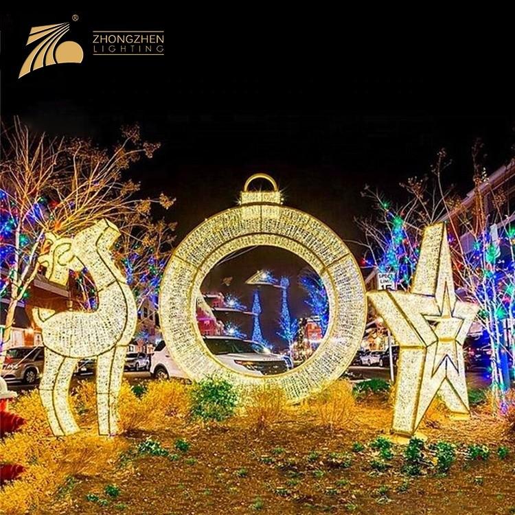 High Quality Custom Decoration Festival Christmas 3D Reindeer Motif Light