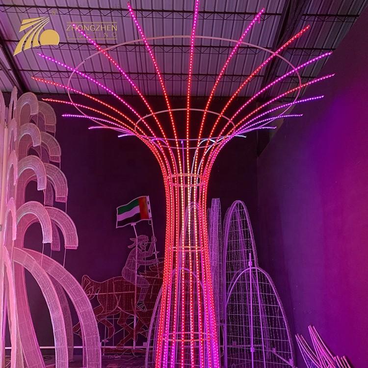 Low Power Consumption Festival Christmas Decoration Giant 3D Foutain LED Motif Light