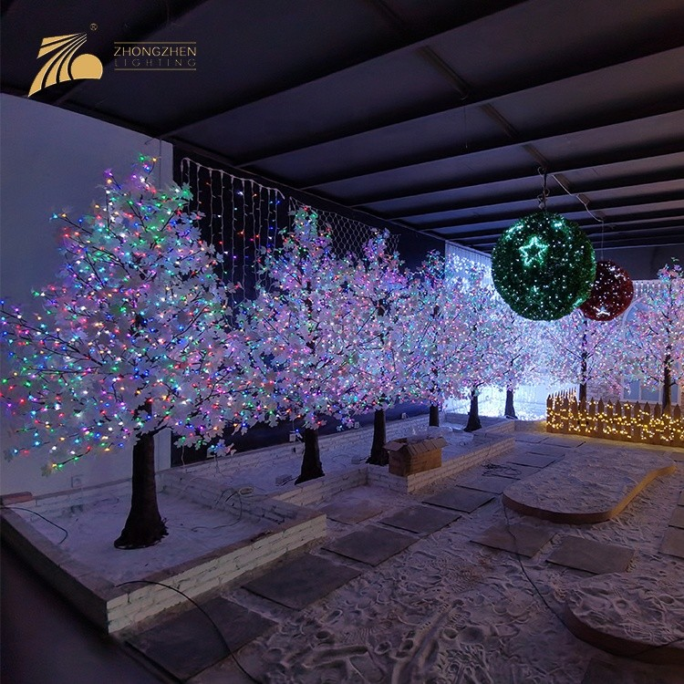 New Product 120 Luminous Angle RGB LED Artificial Pine Shape Maple Tree Light