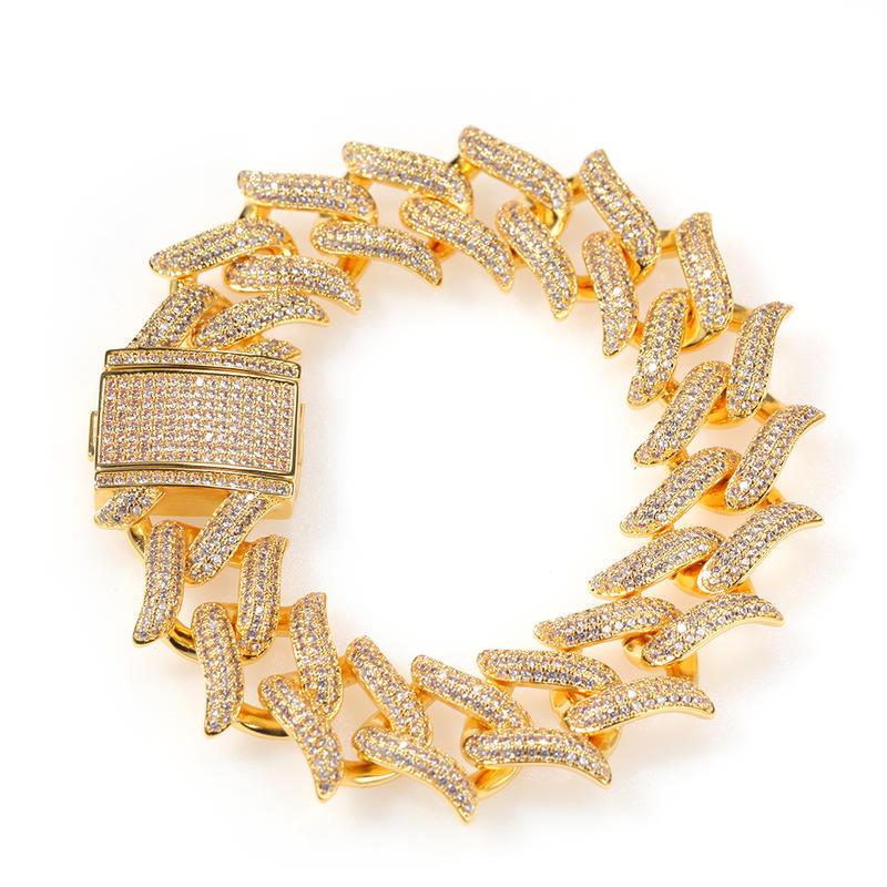 New Thorn Cuban Bracelet, Punk Thorn Cuban Link Bracelet 20mm, Zircon Hip-Hop Men's Bracelet