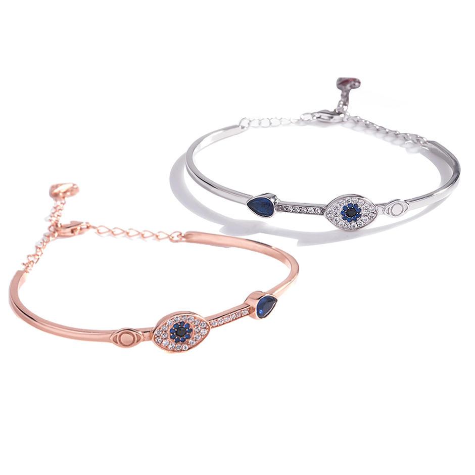 S925 Sterling Silver Devil'S Eye Bracelet Lady'S Blue Eye Bracelet