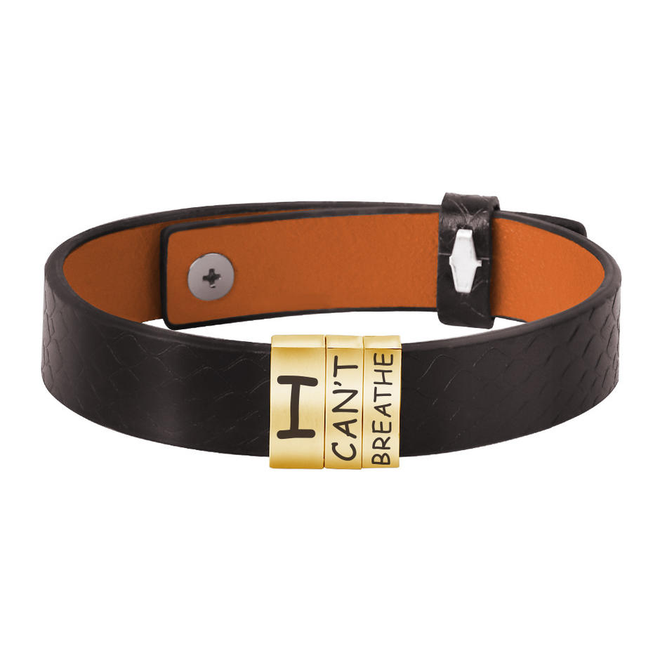 Wide Leather Stainless Steel I Can't Breathe Man Lettered Bracelet Gold Plated
