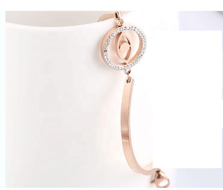 Girls Simple Fashion Stainless Steel Rose Gold Bracelet, 18K Gold Devil'S Eye Bracelet