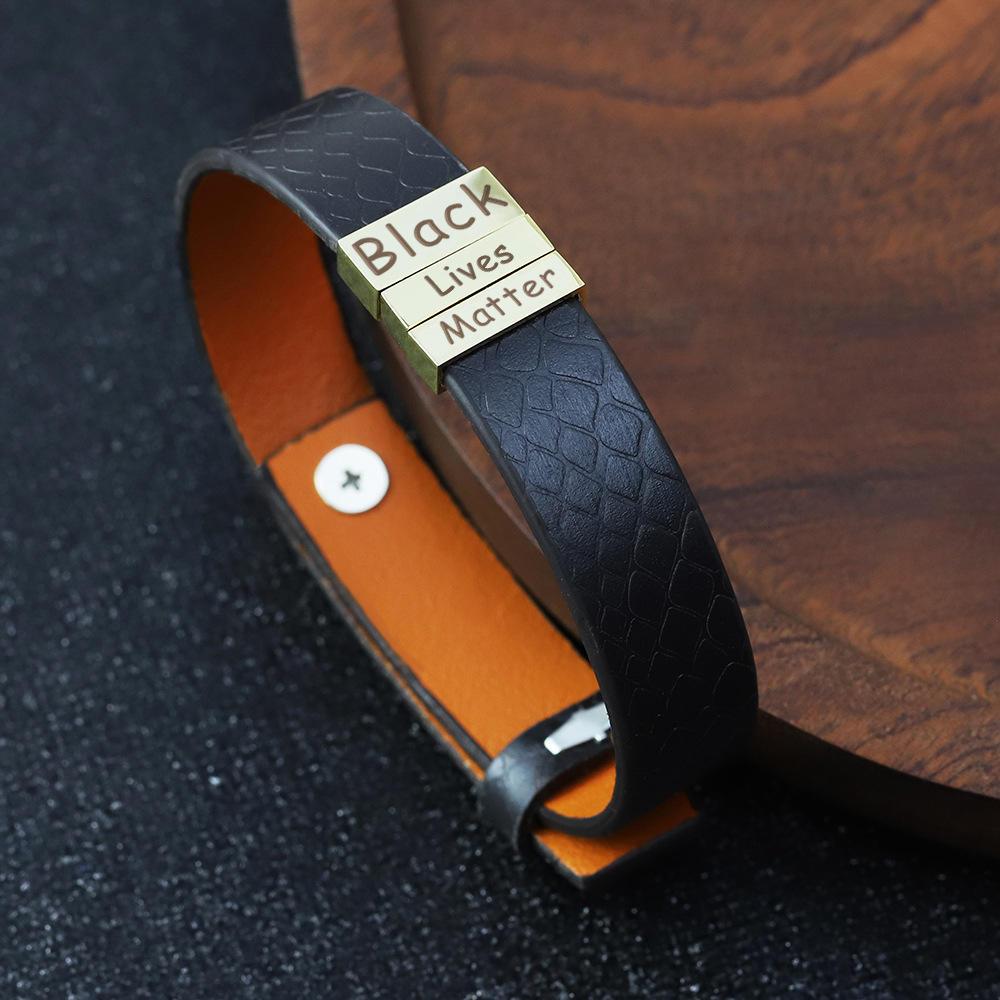 Fashion Cheap Custom Laser Engraved Black Lives Matter Men Bracelet