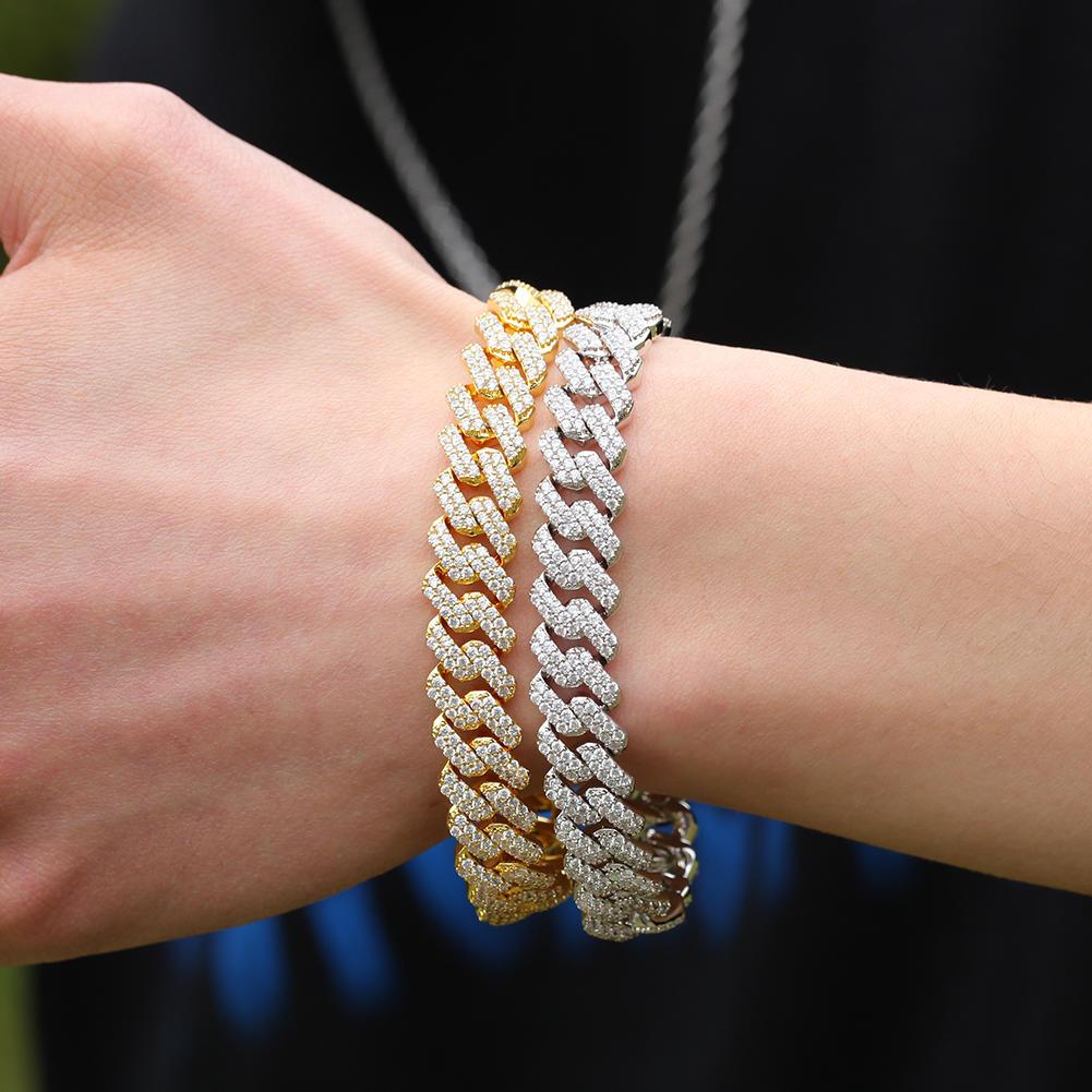 Hip Hop Zircon Bracelet, Men's 12mm Wide Bow Bar Cuban Chain Trend Accessories