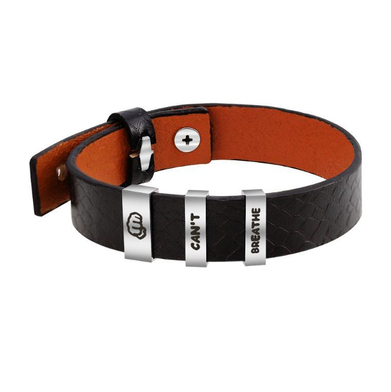 Character Carved Simple Leather Bracelet, Men's Stainless Steel Bracelet Stock