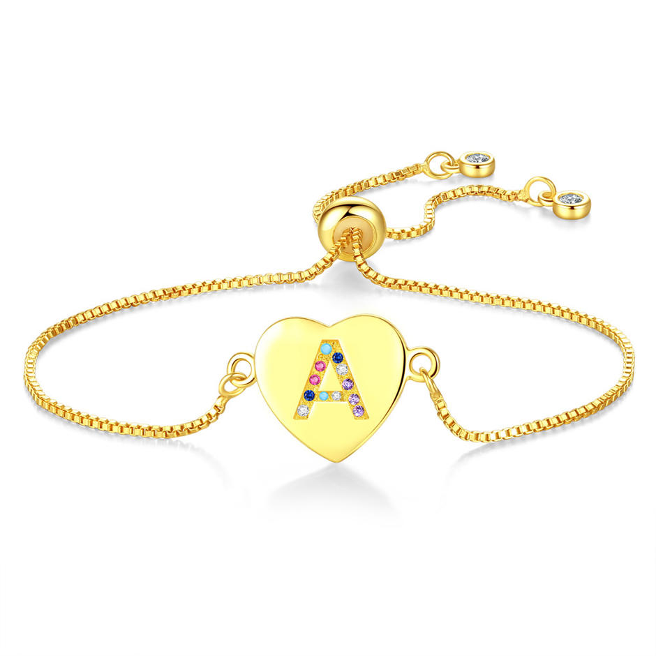 The New 26 Letters Pull Adjustable Bracelet, Heart Color Zircon Bracelet Hot Style Female