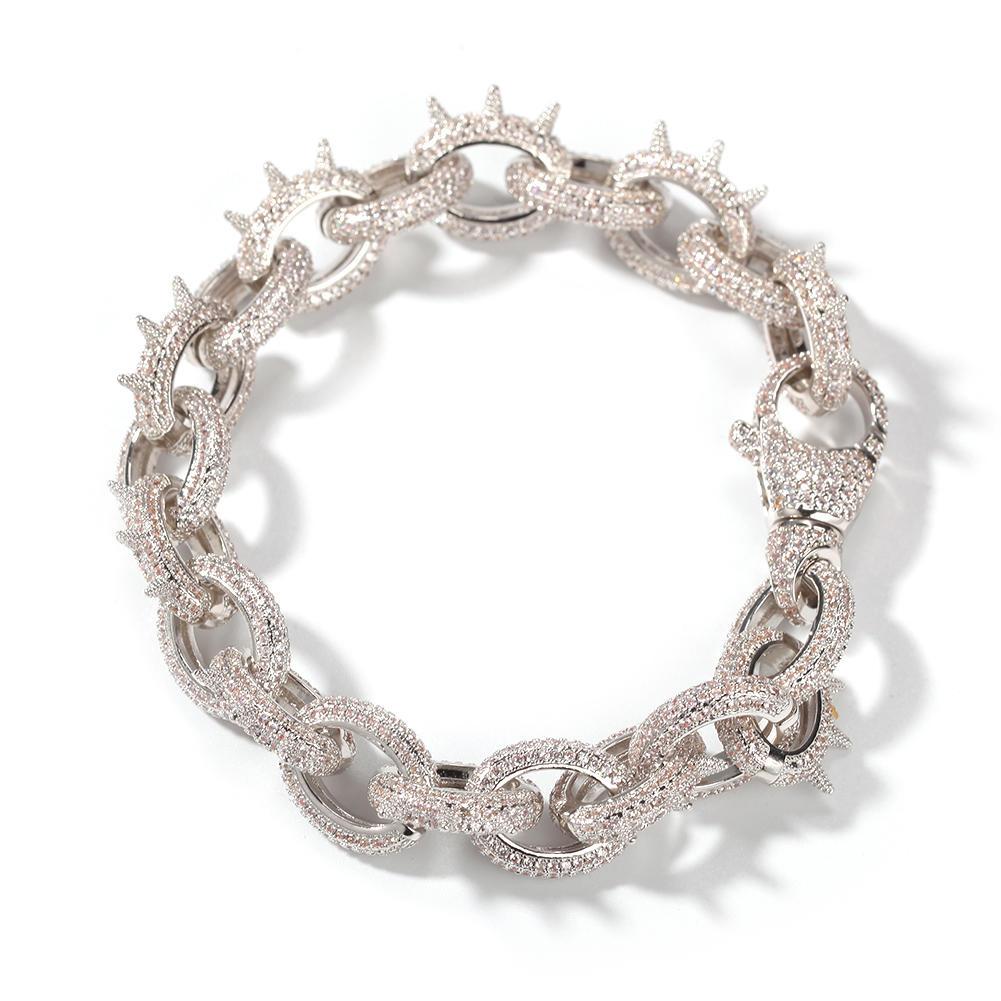 Hip Hop Rivet O Chain Bracelet Metallic Punk Zircon Bracelet Men
