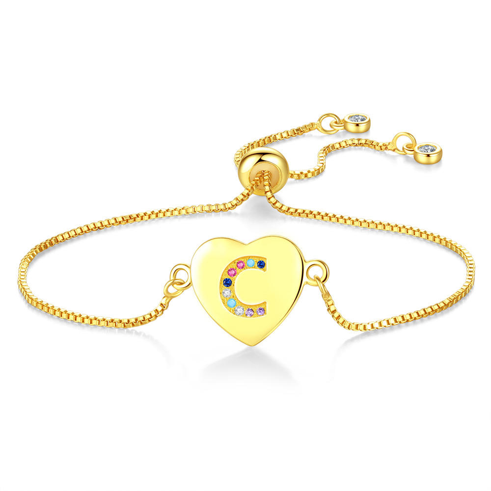 The New 26 Letters Pull Adjustable Bracelet, Heart Color Zircon Bracelet Hot Style Female