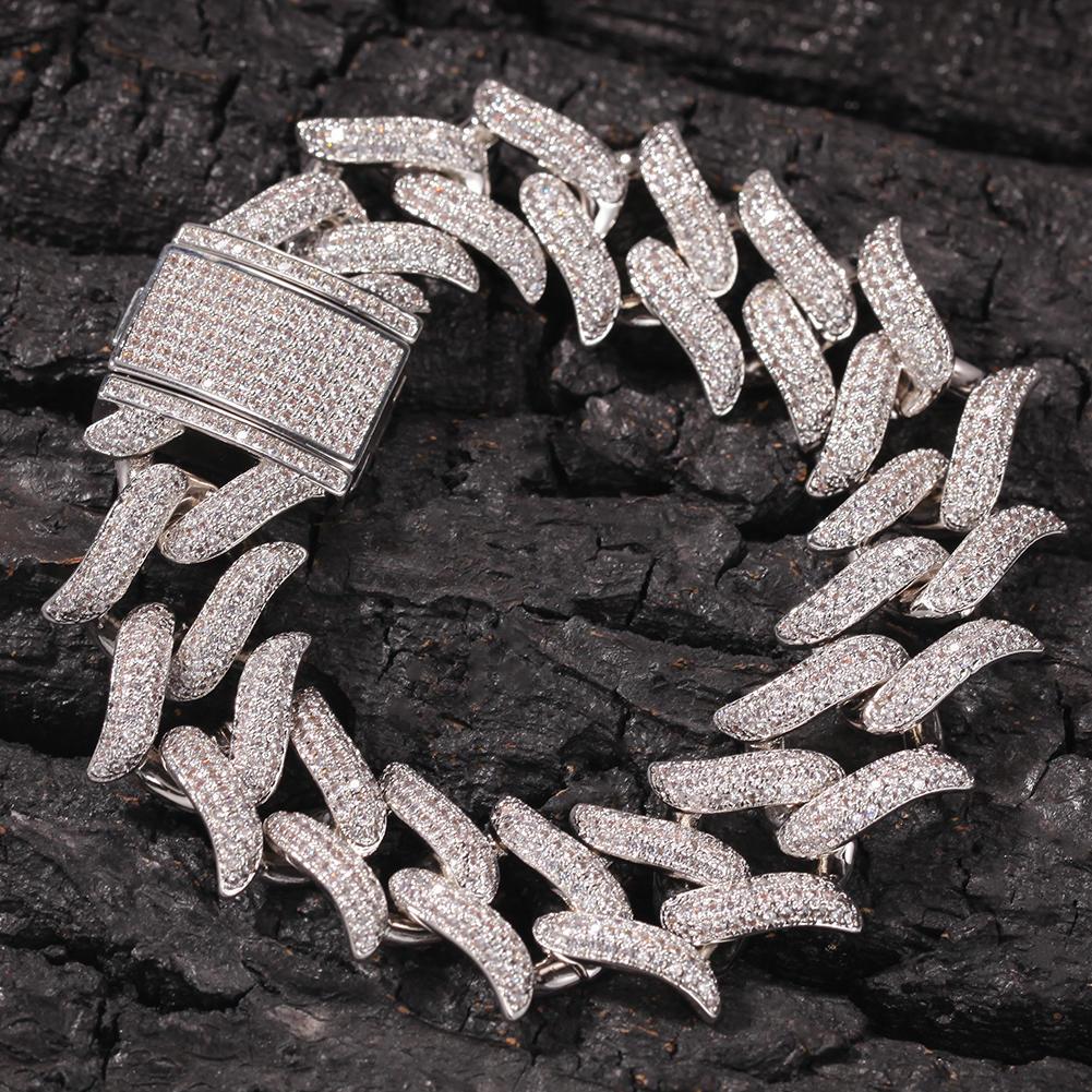 Hip-Hop Thorn Cuba Link Bracelet, Punk Thorn Cuba Zircon Men's Bracelet 8Inch