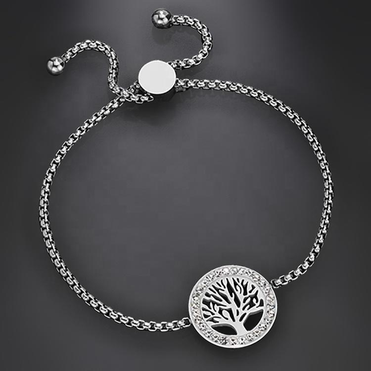 Stainless Steel Pull Adjustable Aromatherapy Tree Of Life Bracelet