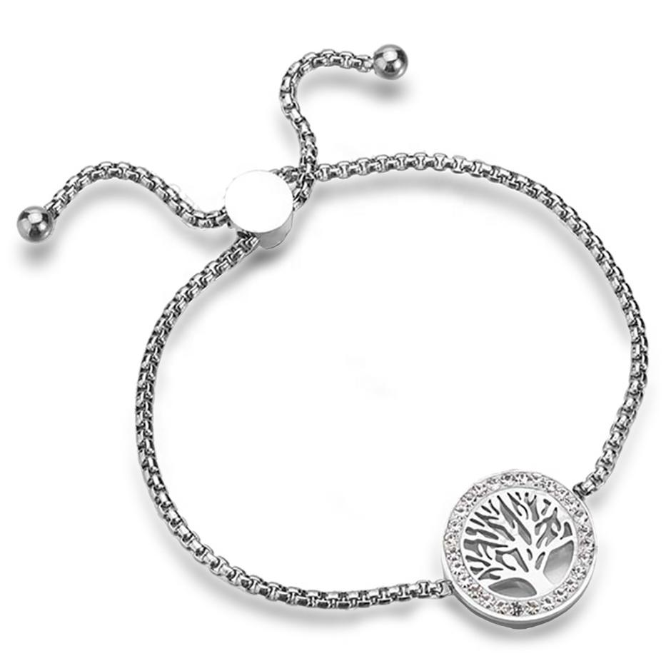 Stainless Steel Pull Adjustable Aromatherapy Tree Of Life Bracelet