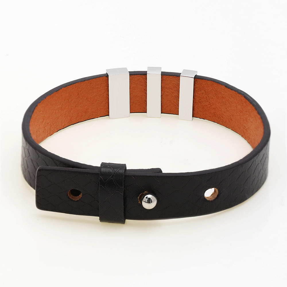 Stainless Steel Black Lives Matter Engraved Bracelet With Wide Leather