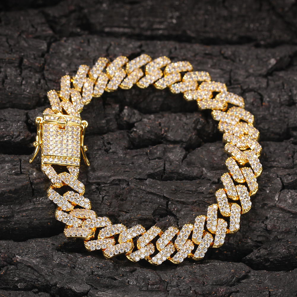 Full Pave Zircon 12mm Wide Bow Bar Cuban Chain Fashion Jewelry