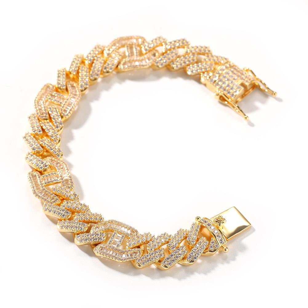 New Zircon 3-1 Cuban Link Bracelet, Hiphop Micro Zircon Bracelet