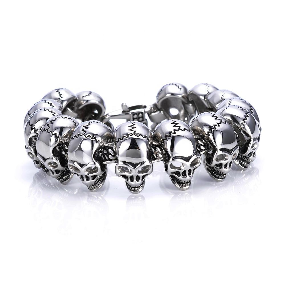European And American Punk Men Sewing Skull Titanium Stainless Steel Bracelet Hiphop