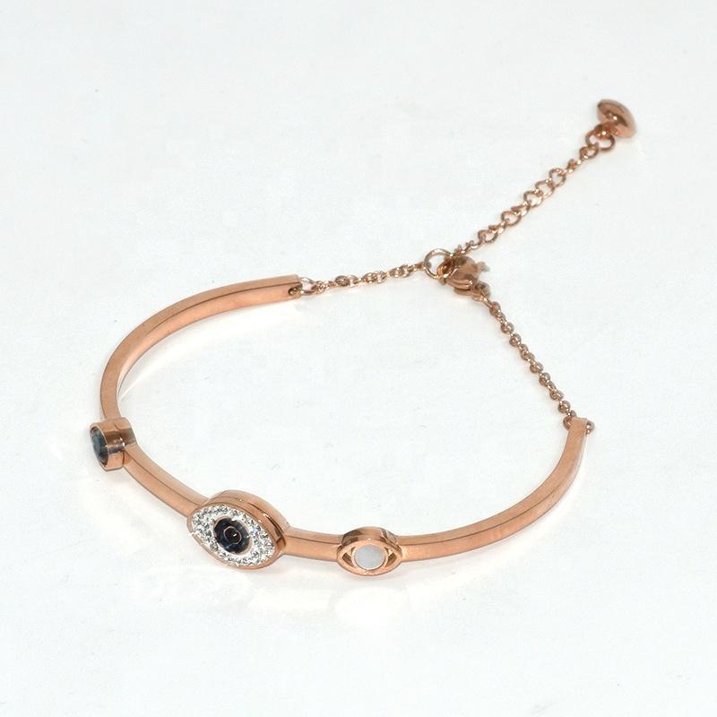 Stainless steel blue gems evil eye womens bracelets bangle cuff