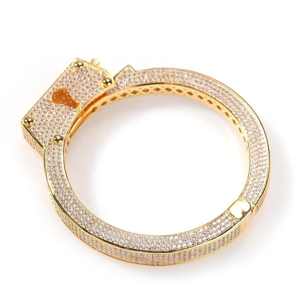 Punk Retro Handcuffs And Bracelets, Copper Zircon Retro Fashion Lovers Bracelet With Hip Hop Jewelry