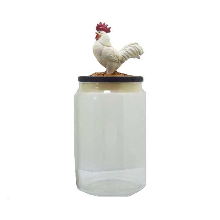 Rooster Cookie Jar Safe Transparent Resin Jar Convenient Cover Pet Food Can