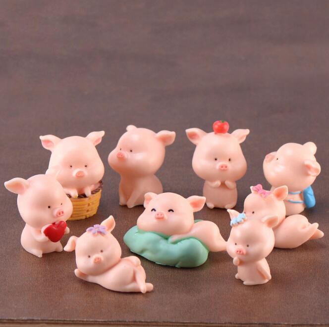 Pig Family Miniatures Fairy Garden Decoration Resin Craft Figure