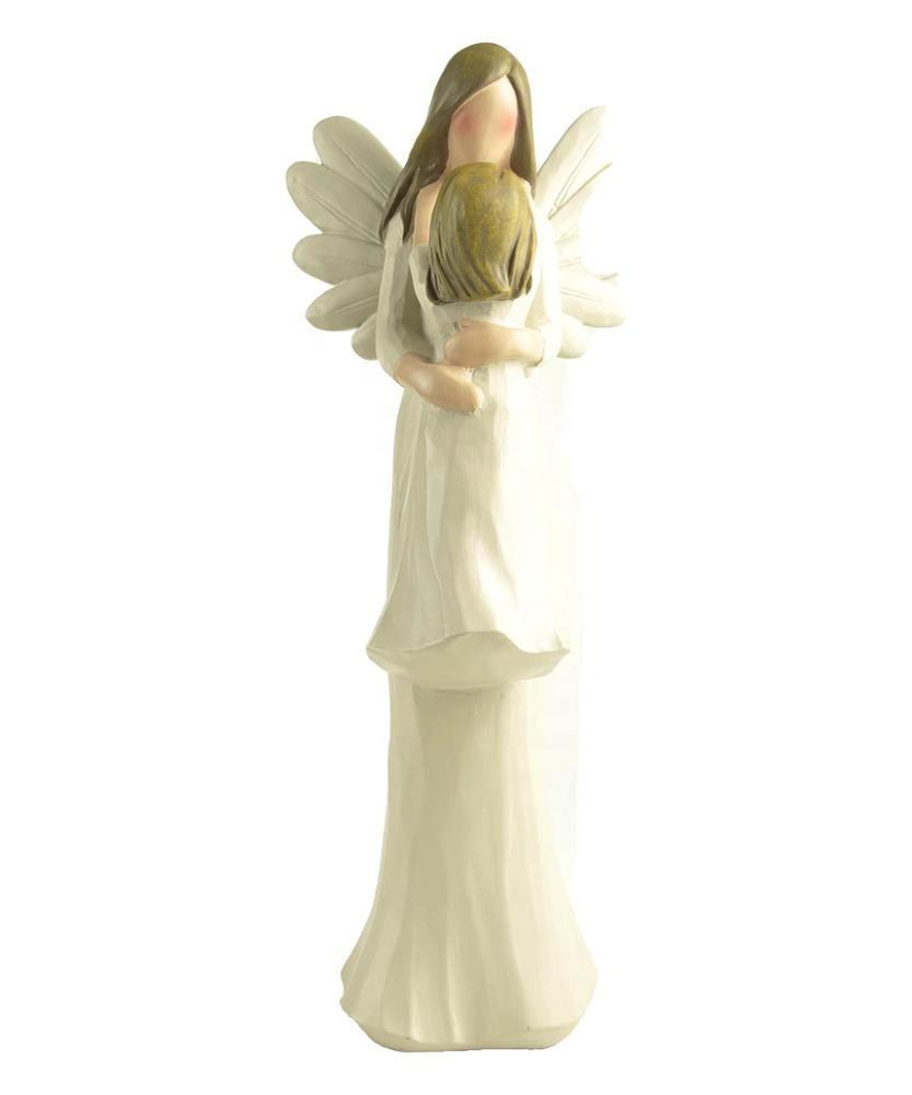 Supply from Stock Polyresin Wood-carved Angel Mom w/ Daughter Figurine