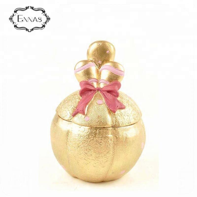 Polyresin gold Jewelry Storage Box Valentines Day Gifts made in china