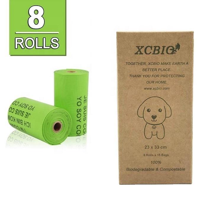 100% cornstarch poop bag biodegradable poop bag plant based poop bags with wonderful custom box packing on stock
