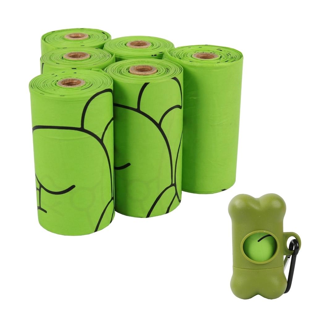 Green Eco Friendly Compostable Pet Dog Poop Waste Bags Custom Printed Biodegradable Dog Poop Bag