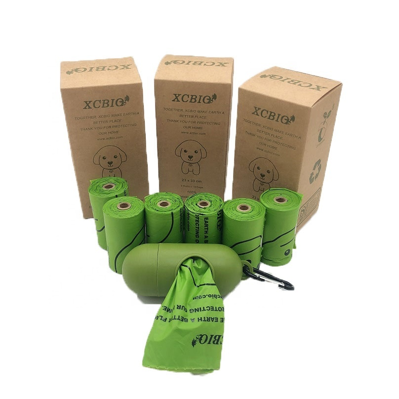 PLA dog waste bag 100% biodegradable compostable poop bag with container