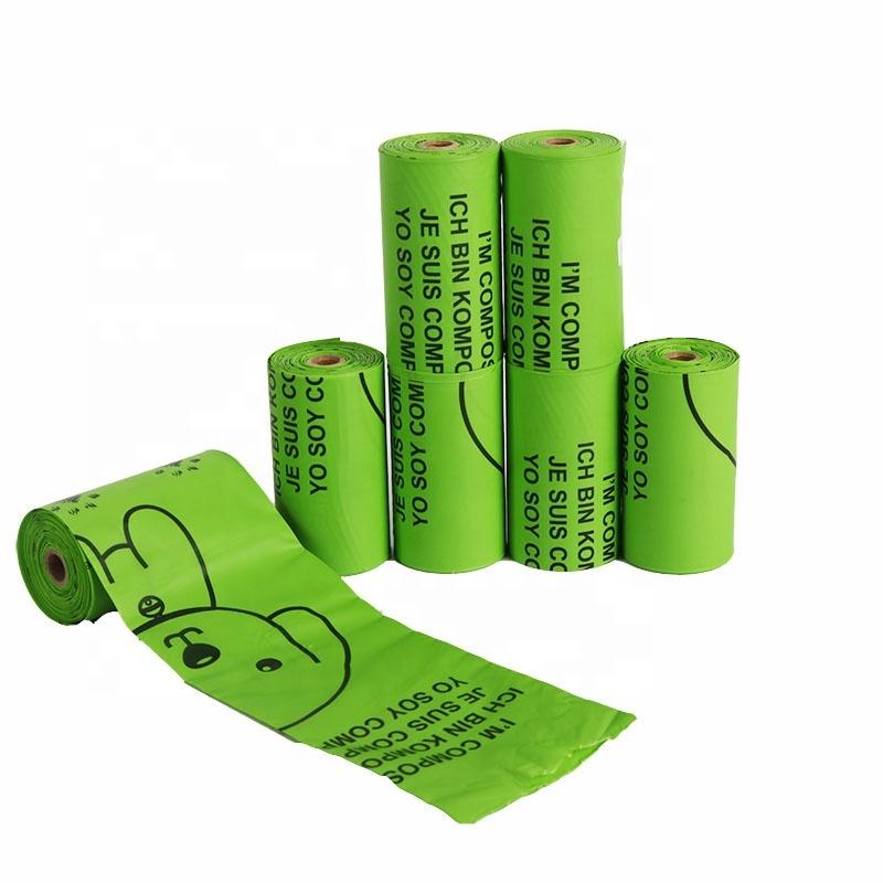 Biodegradable plastic dog poop waste trash bag Eco friendly 100% Biodegradable Compostable Pet Poop Bag on roll