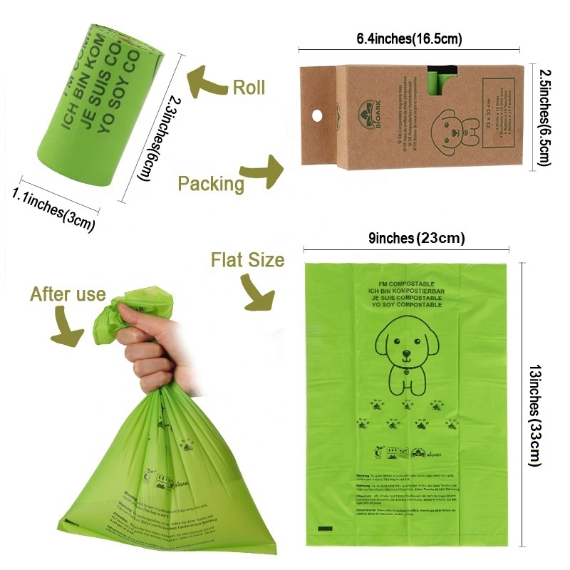 Eco friendly Corn starch 100% biodegradable dog poop bags