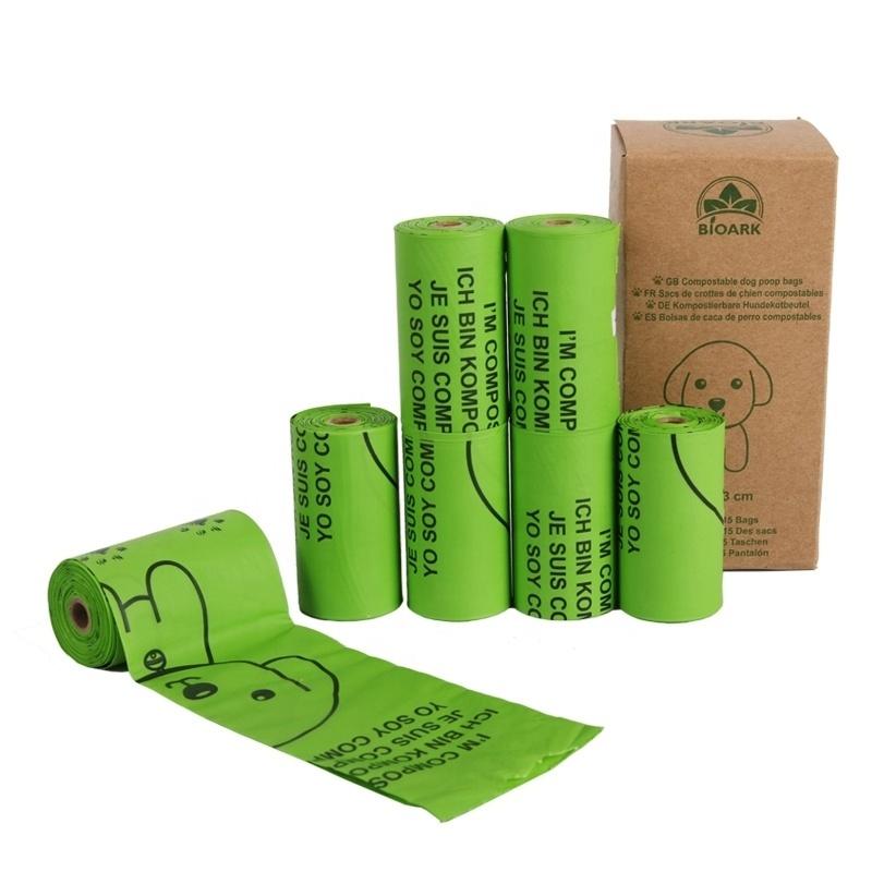 Green EN13432 ASTM D6400 Eco Friendly Pet Poop Bag Biodegradable Compostable Dog Waste Bags With Dispenser