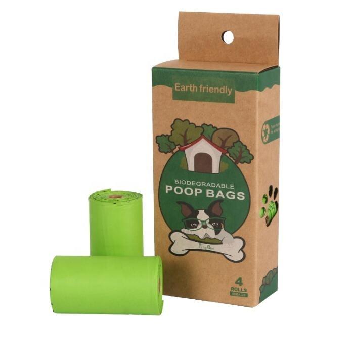 4 rollos box eco friendly biodegradable cornstarch dog trash bags