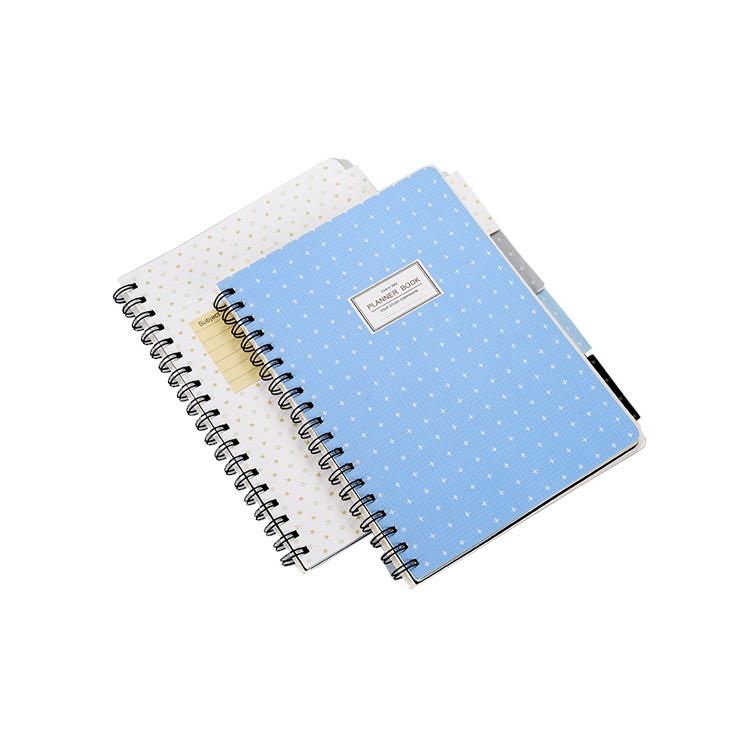 Wholesale Planner Notebook Sky Blue White Dot Cheap Bulk Custom Spiral Notebooks with Label