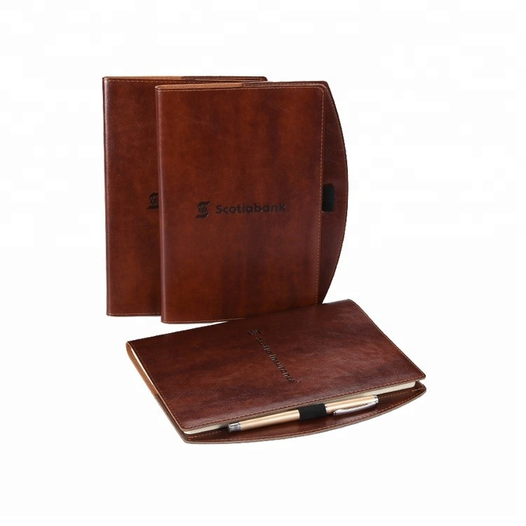 Wholesale Promotional gift Custom A5 size leather pocket notebook with elastic pen holder