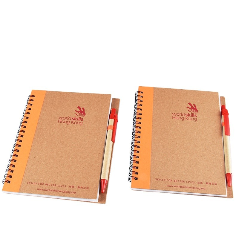 Custom Hardcover Kraft Paper Spiral Notebook With Pen for Business