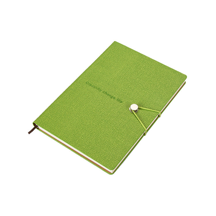 Wholesale Cheap Leather Customised Embossed Logo Printing Ribbon Color Student Notebook with Elastic