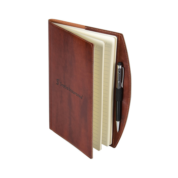 Custom Embossed LogoPU Leather Notebook With Pen Holder For Business