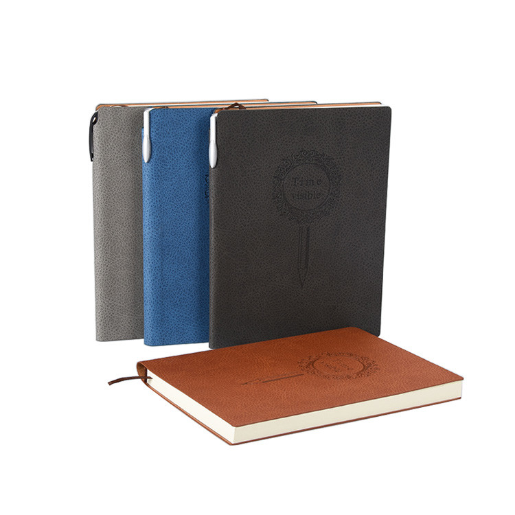 Custom Size Debossed Logo Soft Cover Fashion Business Leather A5 Notebook